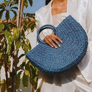Lulu Dharma Blue Woven Half Moon Handbag NWT